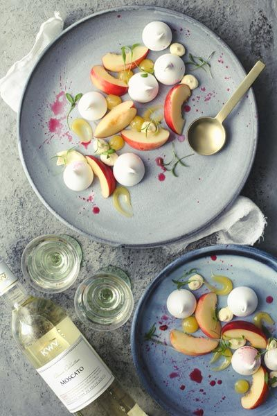 Fresh Stone Fruit With Meringue & Lemon Curd