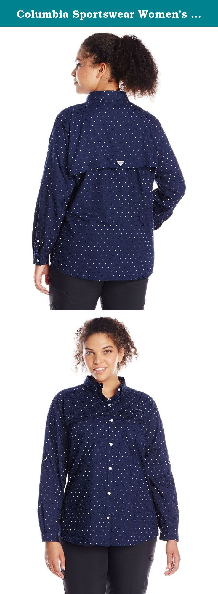 Columbia Sportswear Women's Plus Super Bonehead II W Long Sleeve Shirt, Collegiate Navy Polka Dot, 2X. The print plaid version of our cool, protective Bonehead, constructed of soft cotton that's garment washed for lived-in comfort, with fly box pockets and a rod holder loop at the left chest to meet the needs of lady anglers.