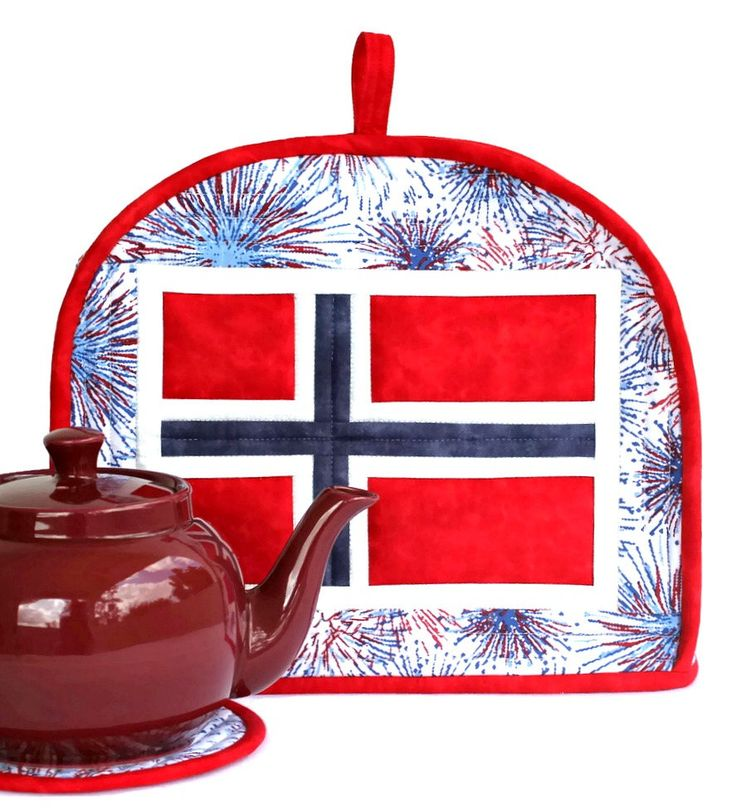 Quilted Patriotic Tea Cozy, Norwegian Flag, Norway May 17th, Red White Blue, National Day, Insulated Teapot Cover, Trivet, Handmade by RedNeedleQuilts on Etsy