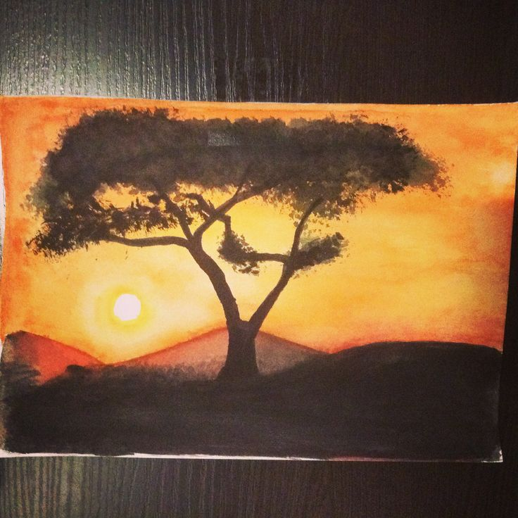 Watercolor and good mood) African sunset