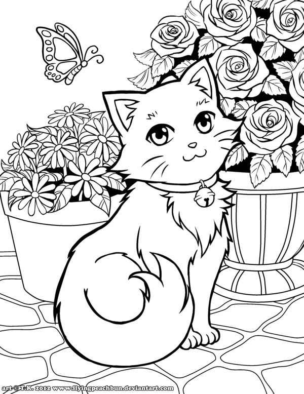 Coloring Lineart Cute Kitty And Flowers By Flyingpeachbun On DeviantART Copic MarkersColoring