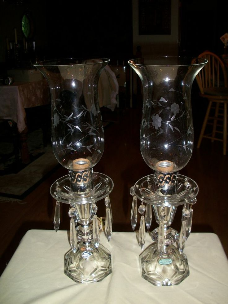 Vintage boudoir etched crystal hurricane table lamps with ...
