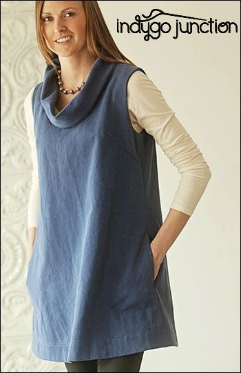 Urban Tunic sewing pattern by Indygo Junction created in Crossroads Denim Fabric