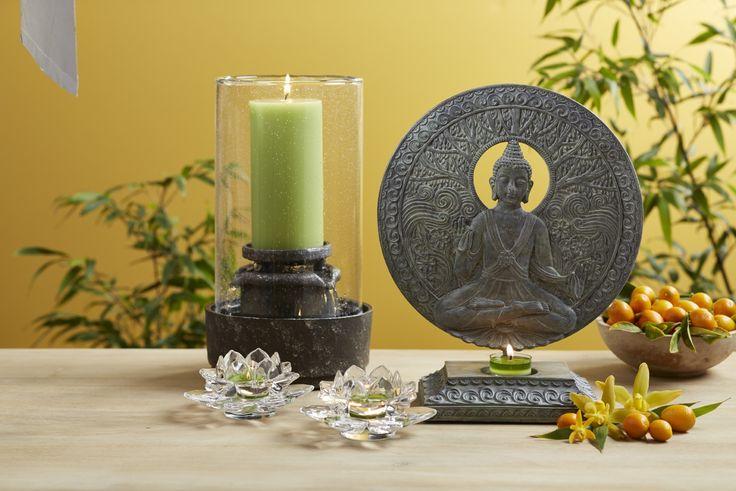 Lotus Flower Votive Holder Pair and Serene Buddha Tealight Holder from PartyLite's Zen Energy Range...