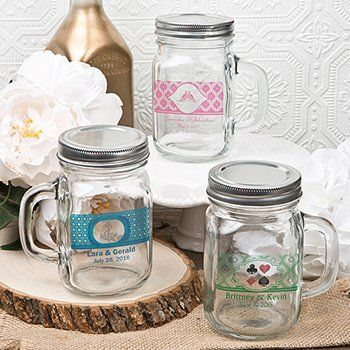 12+ounce+personalized+Glass+mason+jar+with+handle+and+silver+metal+screw+top