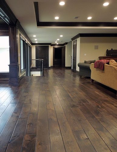 A shade or 2 light floor than the wood trim - I like this best. And not too shiny.