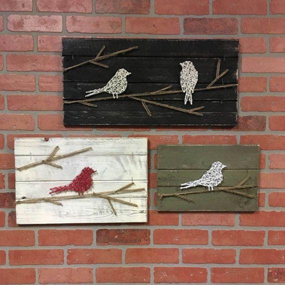 WOOD BIRD ART Rustic Bird Art Fixer Upper by ElevenOwlsStudio