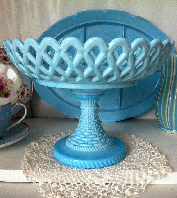 Antique Blue Slag Milk Glass Compote - Blue Milk Glass Compote - Challinor, Taylor Slag Mosaic Glass Compote No measurements readily available, but we can contact the seller.