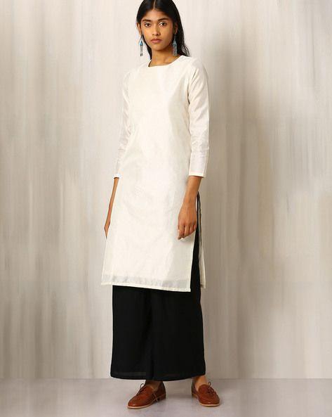 Buy White Indie Picks Chanderi Kurta with Running Stitch Embroidery