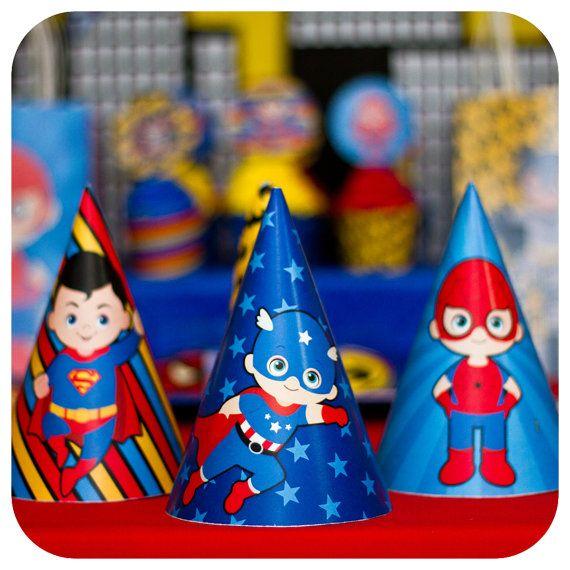 Superheroes Hats Superheroes Party Superheroes by KraftsbyKaleigh