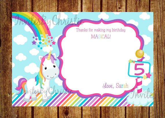 Unicorn Rainbow Personalized Thank You Cards by InvitesByChristie, $6.00