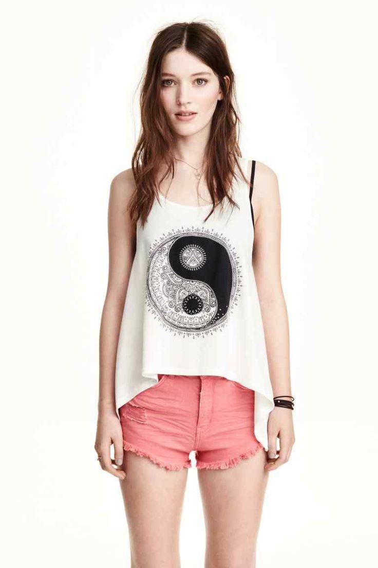 Top sem mangas com estampado   H&M