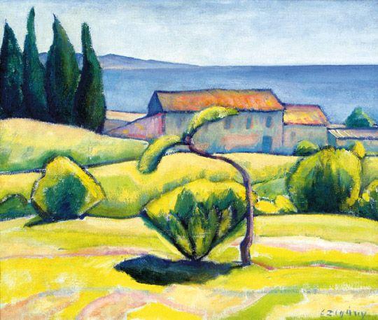 Czigány Dezső (1883-1938)  Dél-Francia tájkép, 1926-1930  Olaj, vászon, 50x61,5 cm