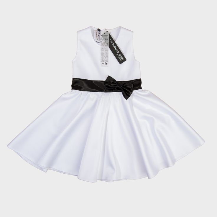 Kids' white dress with black ribbon