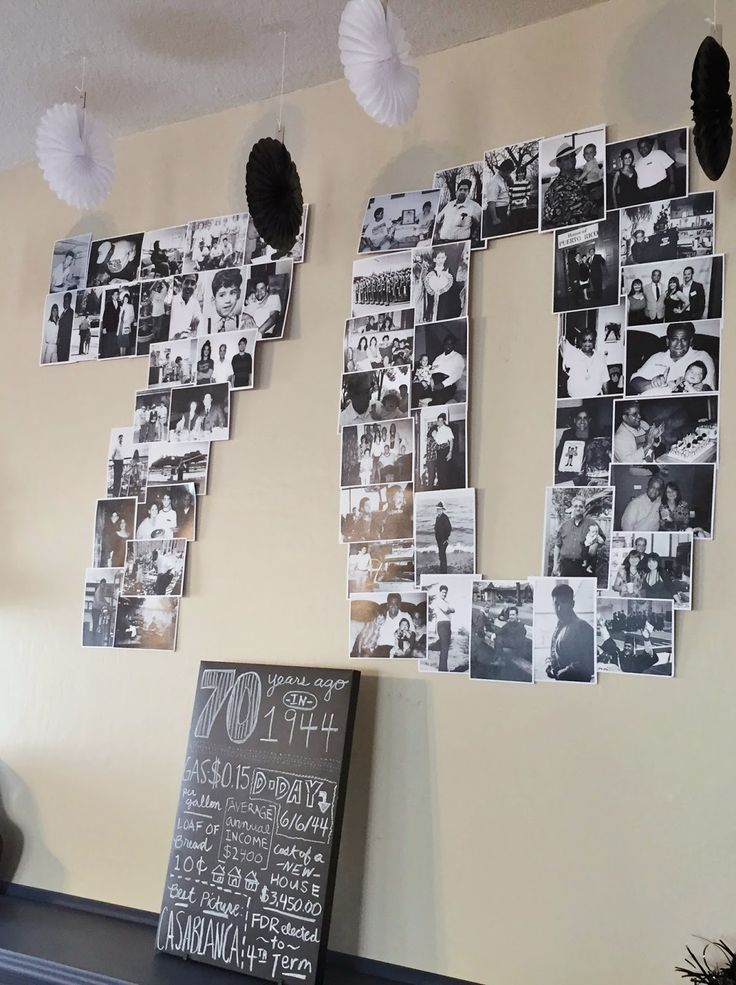photo collage from dads milestone birthday party dcor black white and gray chevron color scheme - Decorations Ideas