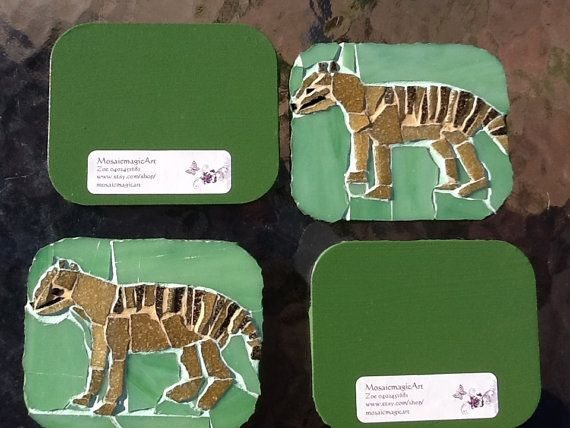 Thylacine Drink Coasters by MosaicmagicArt on Etsy, $80.00