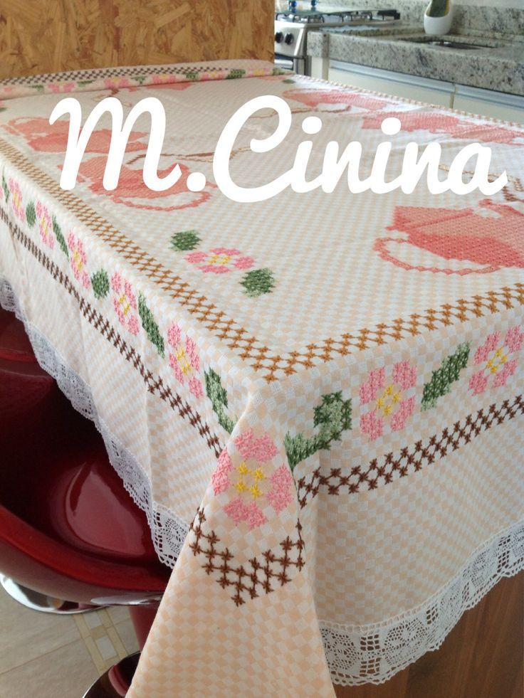 Bordado no tecido xadrez @M.cinina