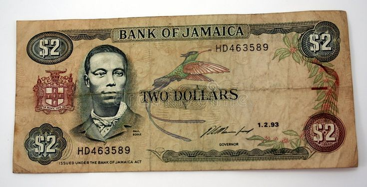 Jamaica Currency. Two dollar bill from bank of Jam…