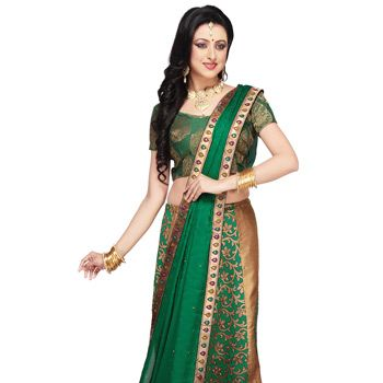Light Antique and Green Art Silk Brocade Lehenga Choli with Dupatta