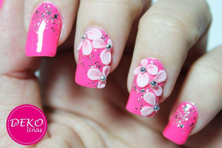 Decoración de uñas flores 3D - 3D acrylic flowers nail art. www.Dekounas.com Video tutorial: https://www.youtube.com/watch?v=BRcWo5OssXw