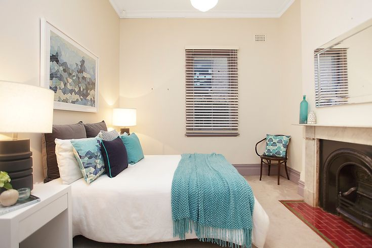 Geometric, Blue, White, Pastel, Bedroom, For Sale, Annandale, Real Estate, Pilcher Residential, Blinds, Windows, Interior Design, Fireplace, Vintage, Modern