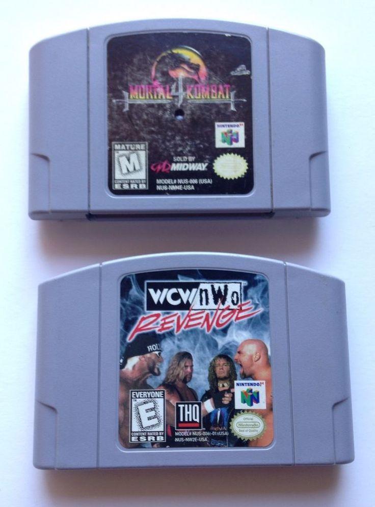 MORTAL KOMBAT 4 & WCW NWO REVENGE NINTENDO 64 VIDEO GAME LOT N64 #Nintendo