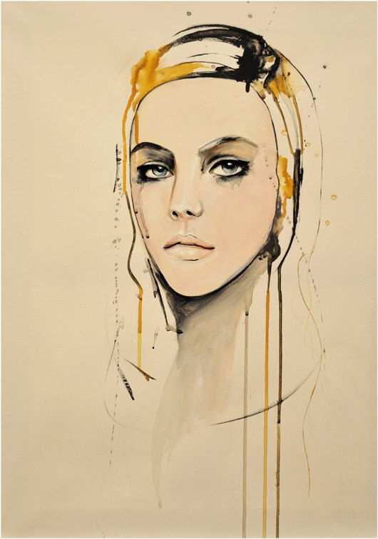 Golden  Fashion Painting Art Print by LeighViner on Etsy, $32.00