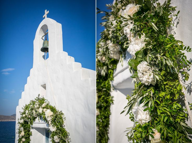 Church decoration with olive brunches, wild greenery, white O'Hara roses and white hydrangeas !!! <3