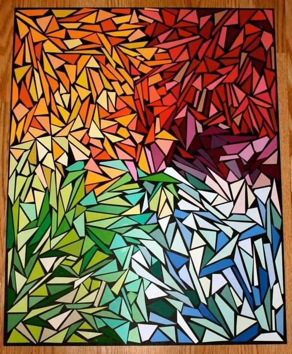 Paint sample mosaic, but would be a fabulous quilt. Would look gorgeous outside with the light shining =)