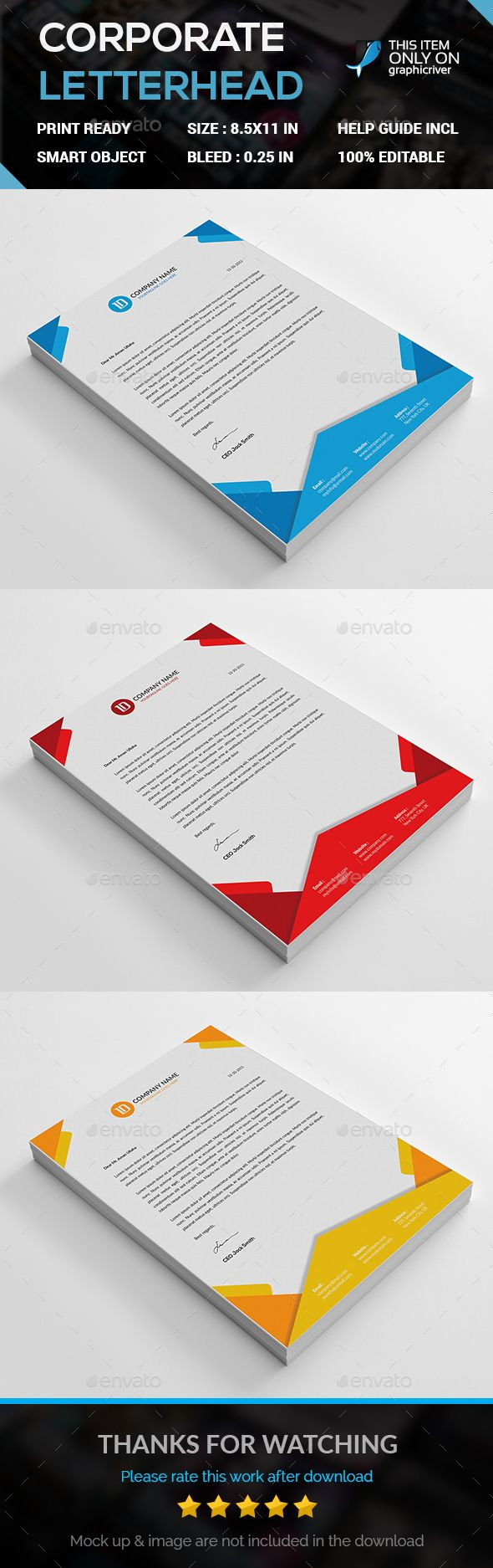 Corporate #Letterhead Template - Stationery Print #Templates Download here:  https://graphicriver.net/item/corporate-letterhead-template/14695988?ref=alena994