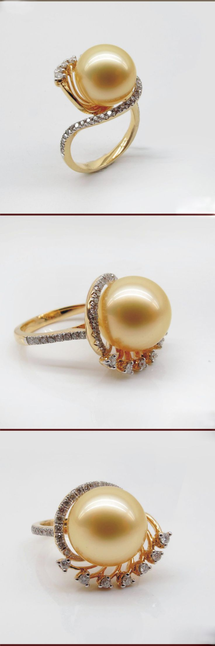 South Sea Pearl Ring With Diamonds 1011dzk100