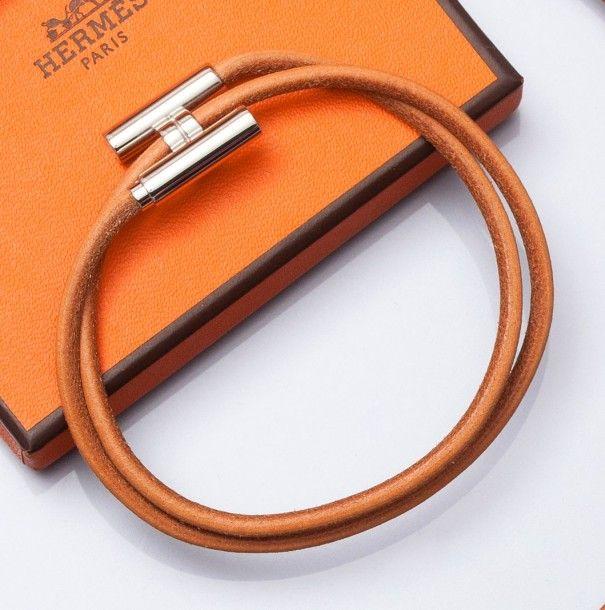 8384d88041ef ... clearance hermes tournis bracelet réglable en cuir naturel goldu2026  219d6 8bd89