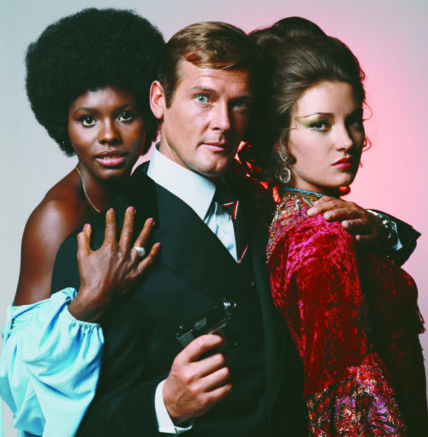 """By Terry O'Neill  Sir Roger Moore in """"Live And Let Die"""", his 1st 007 film.  Keep an eye on the tie."""