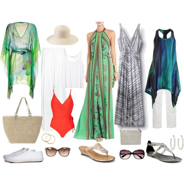 """Maxi-dresses are nice for a cruise. Flats are more practical than heals when walking across the ship, especially if it's a smaller cruise ship where you feel the movement. >> """"Cruise Wear"""" by fiftynotfrumpy on Polyvore"""