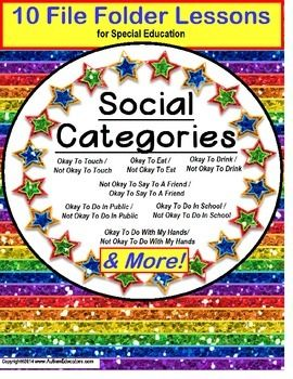 Autism CATEGORIES of Social Behavior – Okay/Not Okay SET OF 10 File Folder Activities This EASY-to-assemble set of 10 Social Behavior Sorting file folder activities is perfect for your social skills or language group, an independent work task, or even as a follow-up to a lesson or reinforcement of a positive behavior. Our kids with Autism may need reminders of what is socially acceptable behavior.