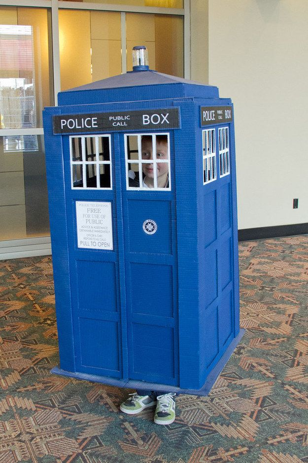 Or get your Dr. Who on and time travel with the Tardis. | 33 Super Easy Cardboard Box Halloween Costumes For Lazy People