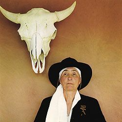 the image of Georgia O'Keeffe I love best.  This was it all for me.  The Skull, the New Mexico area. From cuchama.com: Georgia O Keeffe, Okeeffe, My Life, Artist, Absolutely Terrified, People, Georgia Okeefe