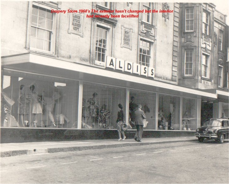 The Aldiss drapery store in Fakenham town centre in the mid 1960's...sadly it is no longer there, because fire destroyed it this year (2014)
