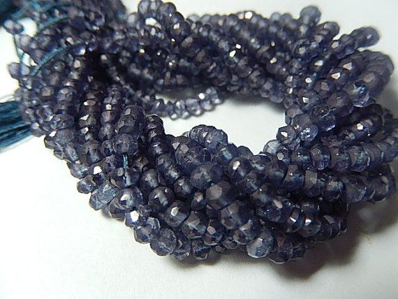 Quartz Gemstone. Semi Precious Gemstone Bead. Faceted Rondelles. Gray-Blue. 4- 4.5mm, 4 inches - 51 kr