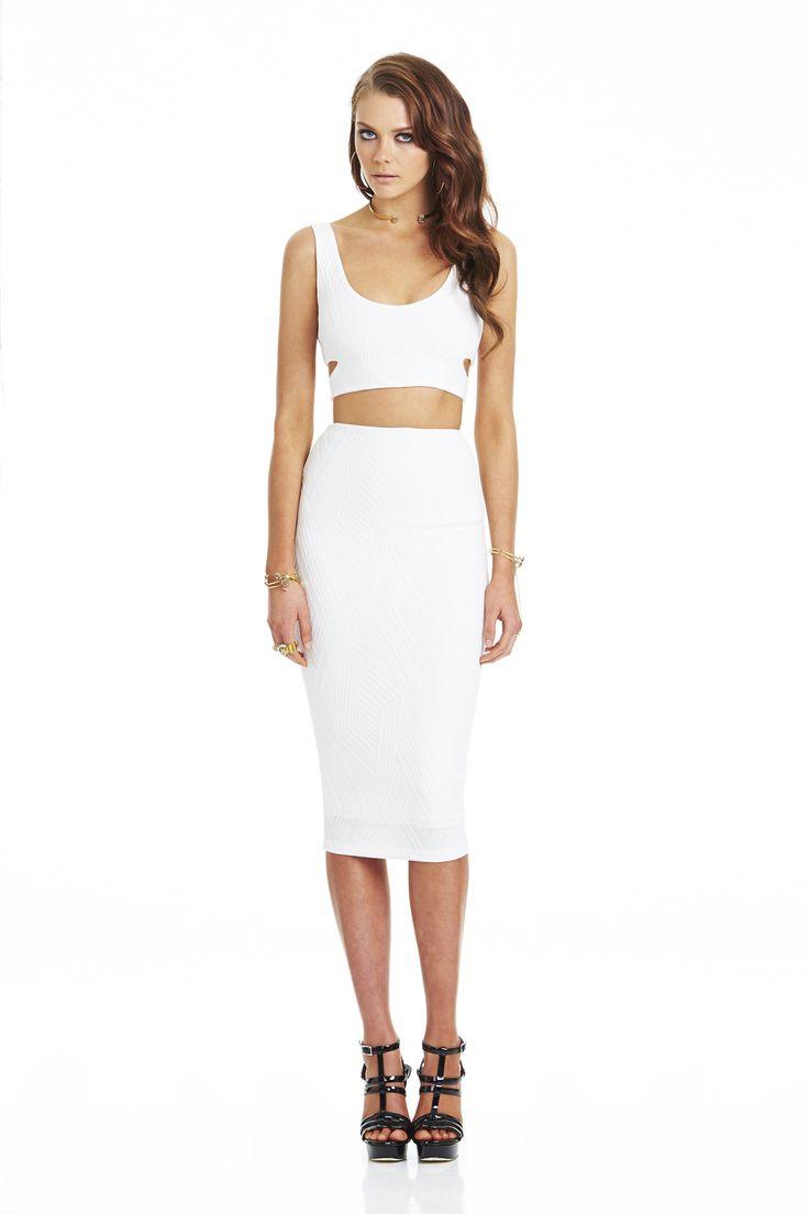 Uptown Girl Knit Crop White & Uptown Knit Pencil Skirt White #nookie