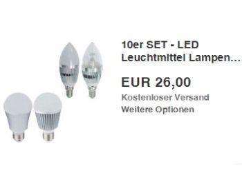 Ebay: Zehnerpack langlebige LED-Birnen für 26 Euro frei Haus http://www.discountfan.de/artikel/technik_und_haushalt/ebay-zehnerpack-langlebige-led-birnen-fuer-26-euro-frei-haus.php Energie sparen zum Schnäppchenpreis: Für 26 Euro inklusive Lieferung ist jetzt bei Ebay das Zehnerpack LED-Birnen zu haben. Discountfans haben die Auwahl unter zahlreichen Wattagen sowie dem Sockel E27 und E14. Ebay: Zehnerpack langlebige LED-Birnen für 26 Euro frei Haus (Bild: Ebay.de) Das Z