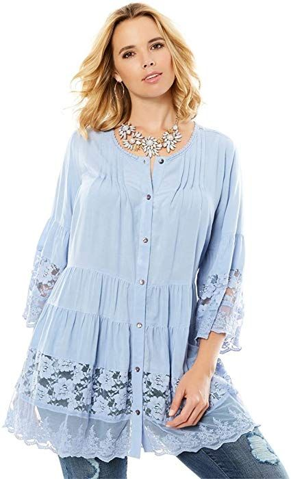 064f9074bfd Women s Plus Size Illusion Lace Tunic at Amazon Women s Clothing store