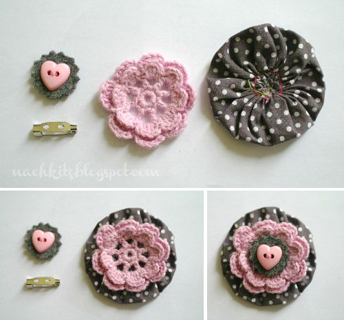 Crocheted brooch or trim--so cute!