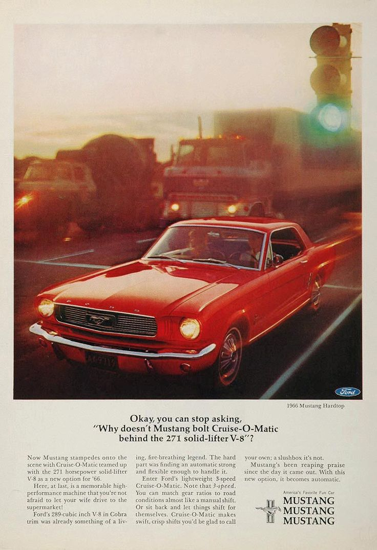 1966 ford mustang hardtop advertising car and driver magazine january this ad is actually a mistake as it shows a model not a k code no fender emblem