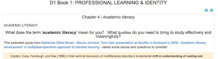 This chapter on Academic Literacy is a  resource for me to revisit to remind myself about the skills for effective study but more importantly skills around critical thinking, giving effective feedback, feedforward, self-directed learning, well-being and that sense of personal professional responsibility.