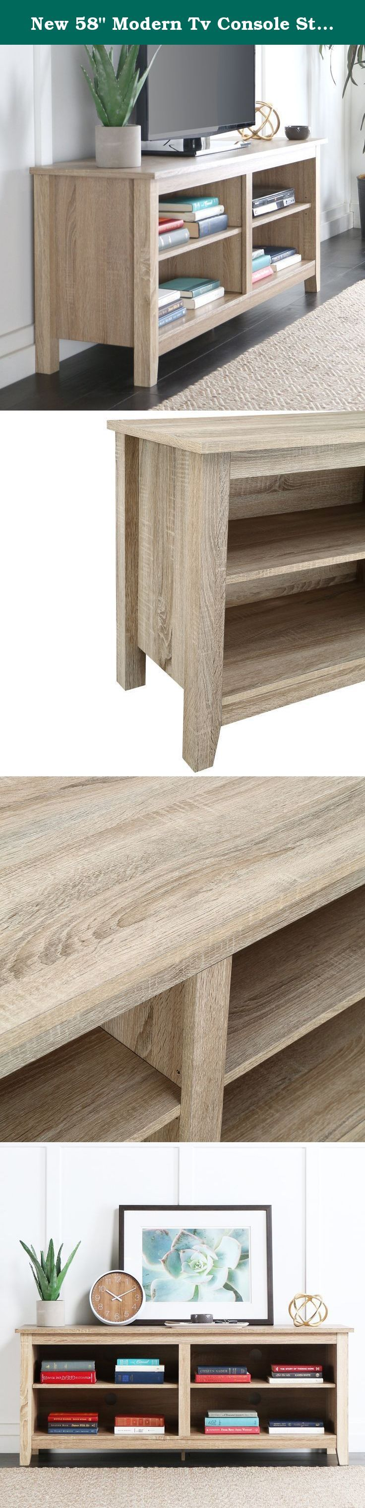 """New 58"""" Modern Tv Console Stand - Natural Finish. New 58"""" Modern Tv Console Stand - Natural Finish."""