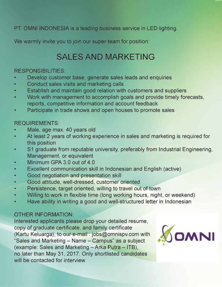 JOIN!  #vacancy as sales & marketing for 2 years experience from Omni Indonesia >> http://bit.ly/2pbfiUh    DEADLINE: 31 May 2017 #itbcc #karirITB #ITBcareer
