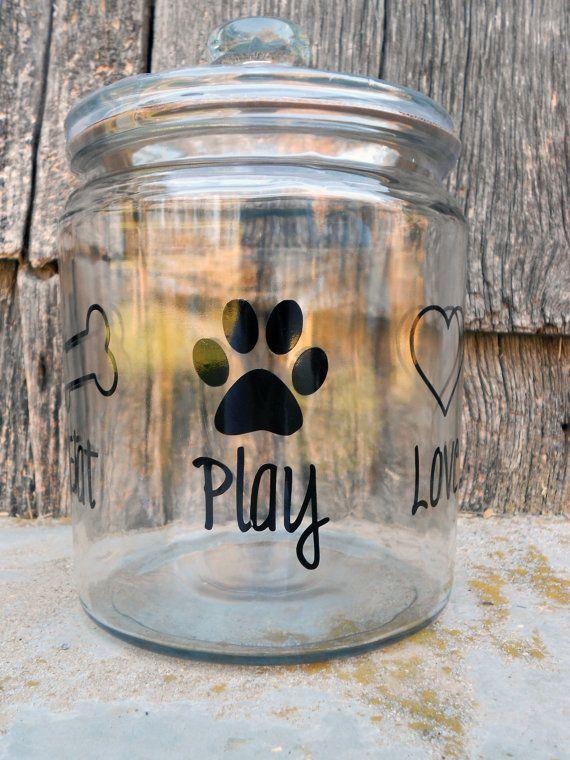 Eat Play Love  Glass Dog Treat Jar by pumpkinpatchbowtique on Etsy, $16.00