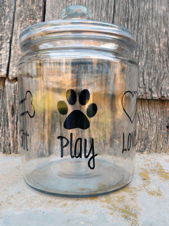 Eat Play Love  Glass Dog Treat Jar by pumpkinpatchbowtique on Etsy, $16.00