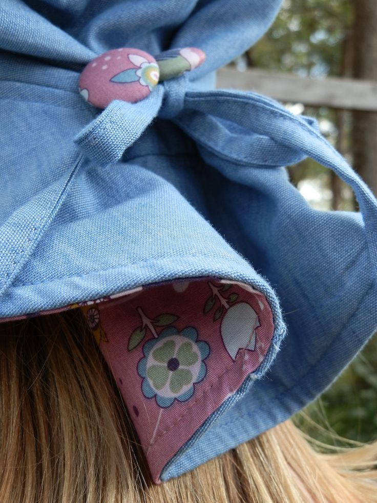 $29.95 - Girl's Hat (Toots and Hoots) UPF 50+. It has a front brim of 5.5cm, in accordance with Cancer Council recommendations, and a wider back brim for added neck protection. It's made from lightweight 100% cotton chambray with a polycotton SportsPlus® core for breathability and durability. With an adjustable drawstring & cordlock it fits Size Small (1-3) and Medium (4-6). It is 100% Australian made and designed with sun protection in mind. www.shadydays.com.au